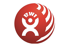Building and Wood Worker's International logo - a red sphere inside of which there is a white cartoon man holding up the letters 'BWI'