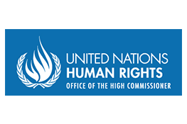 The Office of the UN High Commissioner for Human Rights logo - a blue rectangle in which there is a white flame and the text 'United Nations Human Rights Office of the High Commissioner'.