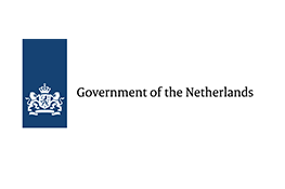 Government of the Netherlands logo - a white crest on a blue rectangle next the black text 'Government of the Netherlands' on a white background