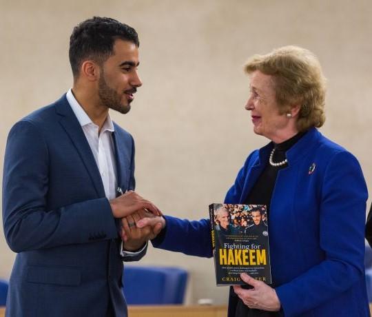 Hakeem avec Mary Robinson