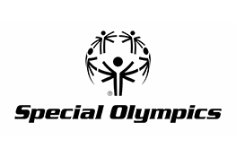 The Special olympics logo - the black text 'Special Olympics' underneath a sphere made up of black cartoon people holding hands.