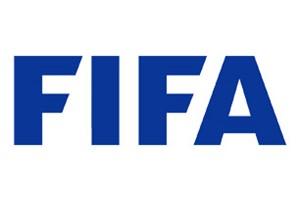 Logo de la FIFA - texte bleu 'FIFA' sur fond blanc