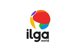 Le logo ILGA - une sphère multicolore au-dessus du texte noir 'ilga world'
