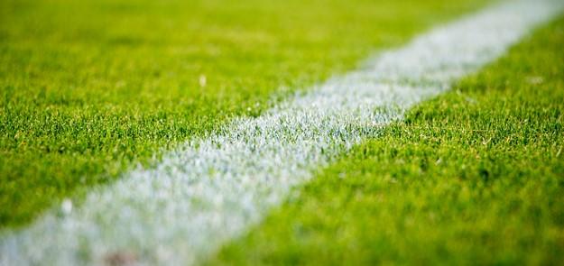 Ligne blanche au bord d'un terrain de sport en herbe.