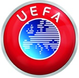 UEFA logo - red circle with a smaller blue circle within it. Blue circle features a map of europe. The letters UEFA are in white above the blue circle.