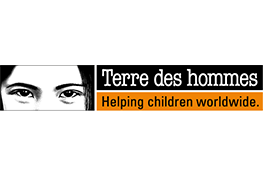 The Terre Des Hommes logo - a child's eyes next to the white on black text 'Terre des hommes', ontop of the black on orange text 'Helping children worldwide.'