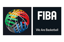 The FIBA logo -  several multicoloured hands around the white silhouette of a basketball, on a black background, next to this in white, the text 'FIBA, We Are Basketball'