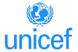 The UNICEF logo - an adult and child in front of a blue globe surrounded by a wreath, on top of the blue text 'unicef'.