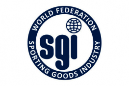 The World Federation of the Sporting Goods Industry logo - a blue ring in which there is the white text 'World Federation, Sporting Goods Industry', in the centre of which there is the blue text 'SGI'. The dot of the I is a globe.