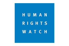 Logo de Human Rights Watch - le texte blanc 'Human Rights Watch' dans un carré bleu