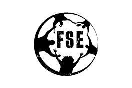 Football Supporters Europe logo - the black silhouette of a circle of people holding hands, in the middle the black text 'FSE'
