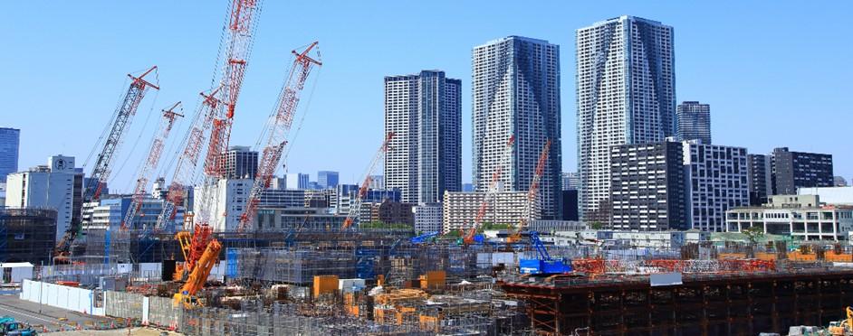 Village olympique de Tokyo en construction