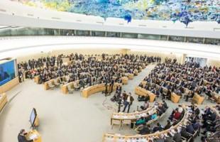 Vista de pájaro de personas sentadas en la sala del Consejo de Derechos Humanos en Ginebra, debajo de la colorida textura