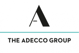 The Adecco Group logo - a large black 'A' with a blue line ruling underneath and black and white 'The Adecco Group' text on a white background
