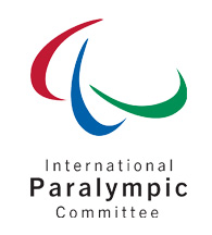 Logo du Comité International Paralympique - «Comité International Paralympique» en texte noir sous trois arcs multicolores.
