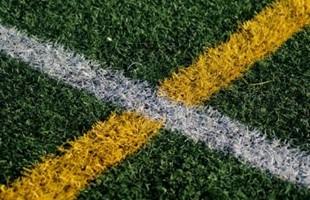 Cerrar imagen de líneas pintadas en el campo de deportes de hierba.